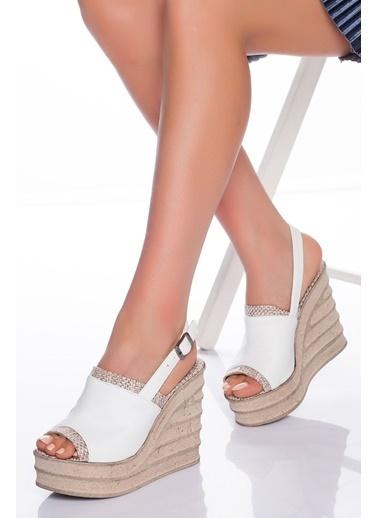 Derithy Derithy-Dolgu Topuklu Ayakkabı-Kırmızı Süet Beyaz
